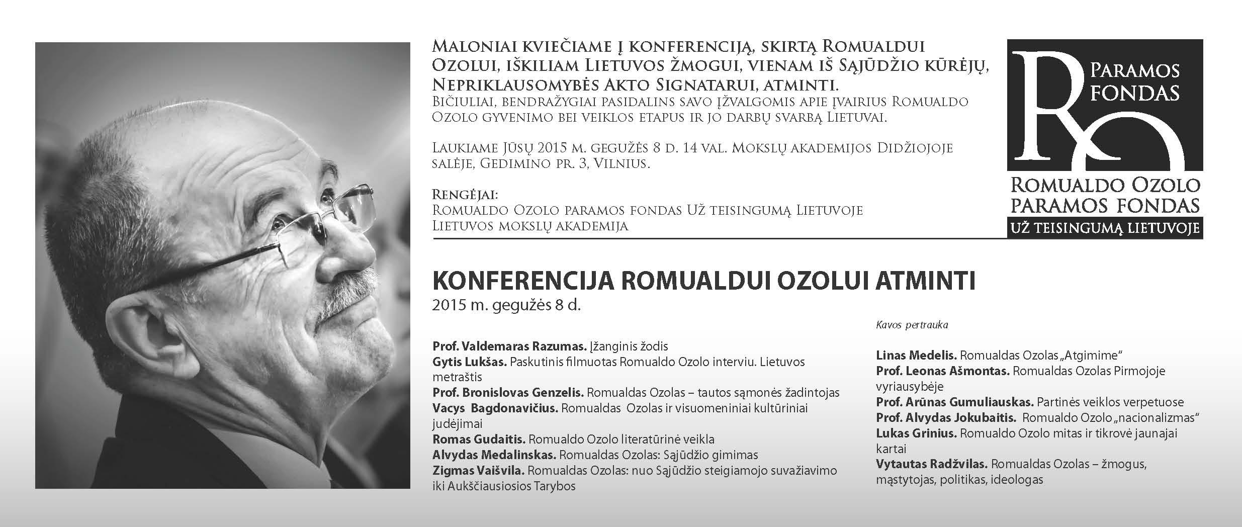 Konferencija, skirta Romualdui Ozolui atminti. KVIETIMAS(1)