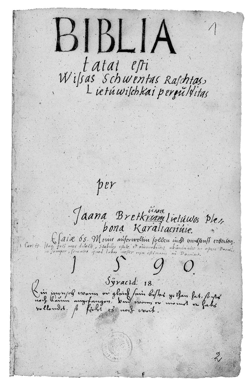 Jono Bretkuøno Biblijos vertimo antrasÿtinis lapas